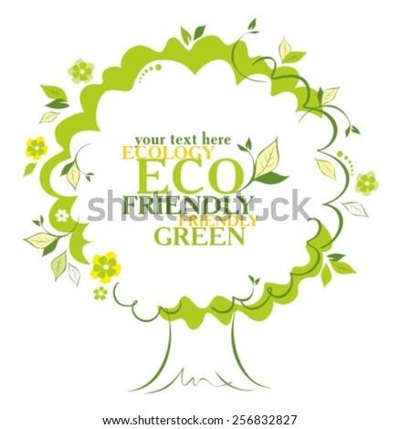 Stylized vector tree with copy space - stock vector
