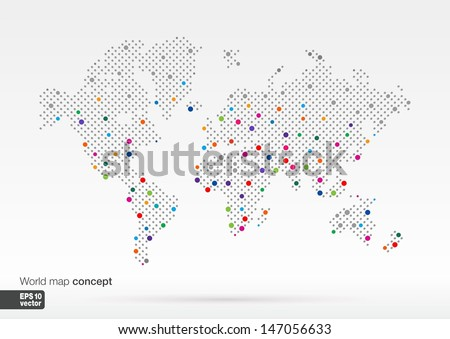 Stylized World Map concept with biggest cities. Globes business background.Colorful vector illustration.  - stock vector