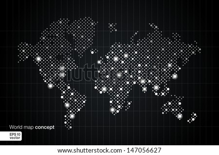 Stylized World Map concept with biggest cities. Globes business background. Night view with spot lights. Vector illustration.  - stock vector
