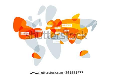 stylized world map flat - stock vector