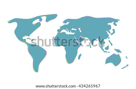 Stylized World map vector illustration on white background - stock vector