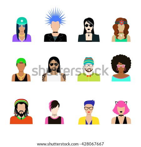 Subculture hair style concept vector icon set. Man and woman representatives of life styles illustration. Punk goth rock emo hipster rapper tattooed in glances hat dreadlocks headband thorns hairstyle - stock vector
