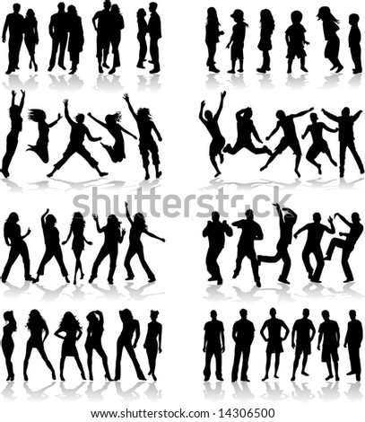 Subject Group of People 2 - stock vector