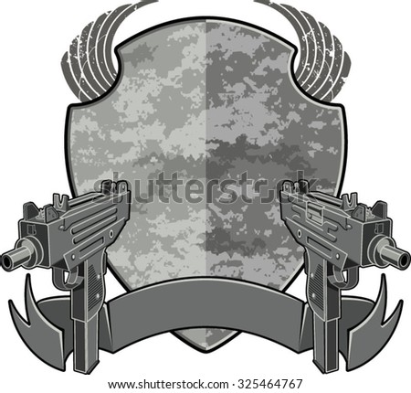 submachine guns with shield and banner - stock vector