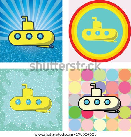 submarine graphic on many retro styles background - stock vector