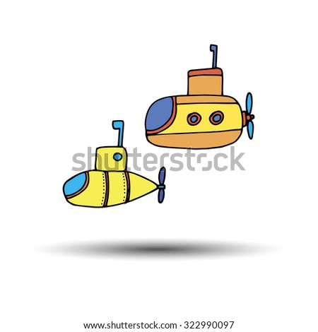submarine vector illustration underwater sea cartoon transportation yellow travel - stock vector