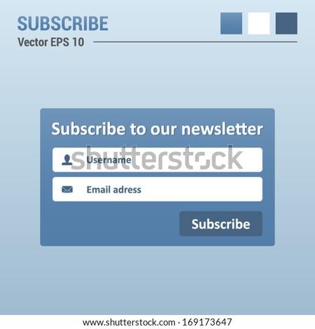 Subscribe box - website elements - web design UI - stock vector
