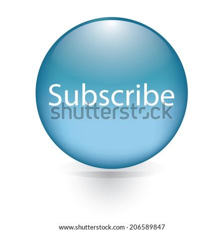 Subscribe word blue button - stock vector