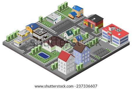 Suburban concept with house apartments and government buildings 3d isometric decorative icons vector illustration - stock vector
