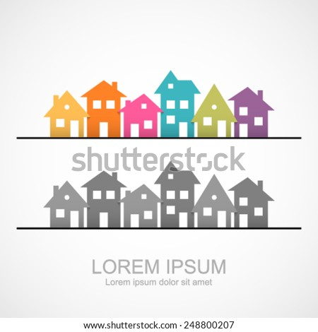 Suburban homes icon. - stock vector
