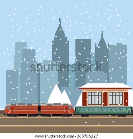 Suburban train station - stock vector