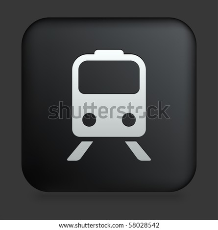 Subway Icon on Square Black Internet Button Original Illustration - stock vector