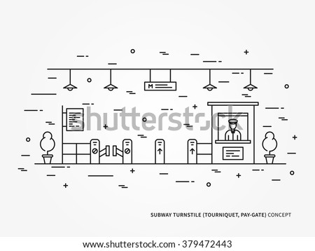 Subway (metro, underground railway) turnstile (pay-gate, tourniquet) linear vector illustration. Subway turnstile (pay-gate, tourniquet) creative graphic concept. Subway turnstile graphic design.  - stock vector