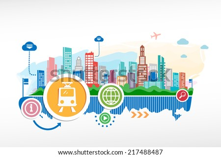 Subway sign and cityscape background with different icon. Design for the print, advertising. - stock vector