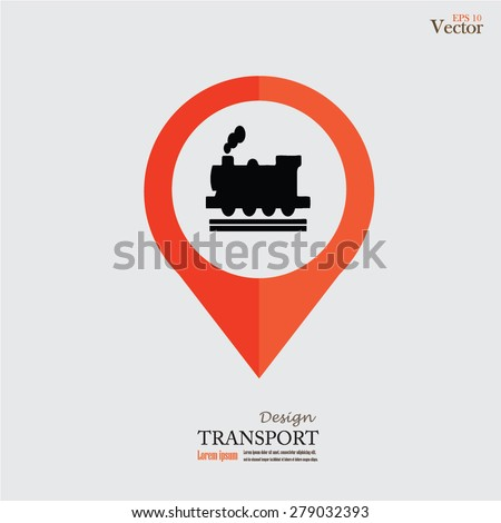 Subway Station or Railway Station Map Pointer Icon Isolated on gray Background.map pointer with train.vector illustration. - stock vector