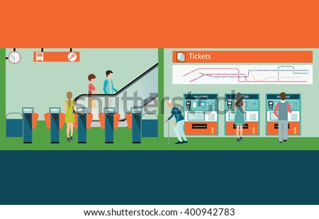 Subway train station platform with people buying train ticket, Train ticket vending machines, Railway Map, Entrance of railway station, transportation vector illustration. - stock vector