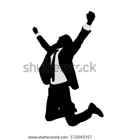 succesful bussinesman celebrating victory - stock vector