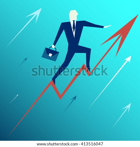 Success. Business concept. business man stand on top of graph arrow,successful concept, illustration, vector - stock vector