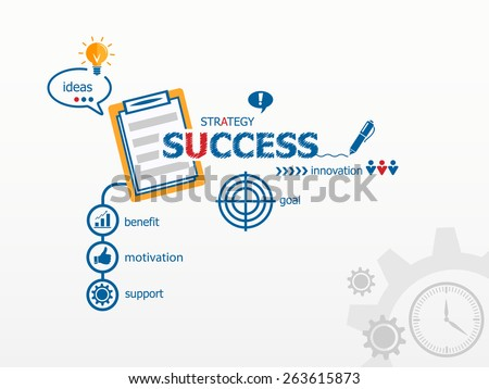 Success concept and notebook. Hand writing Success with blue marker. Workflow layout, diagram - stock vector