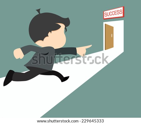 Success concept- Businessman running success door sign.- vector illustrator  - stock vector