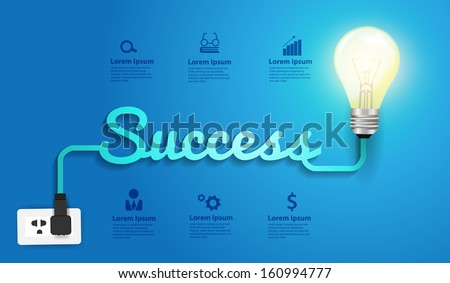 Success concept creative modern design template, Light bulb idea abstract infographic workflow layout, diagram, step up options, Vector illustration - stock vector