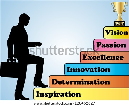 Success Concept Illustration - A Professional Businessman climbing a set of necessary behavior steps towards being the best in the world - stock vector