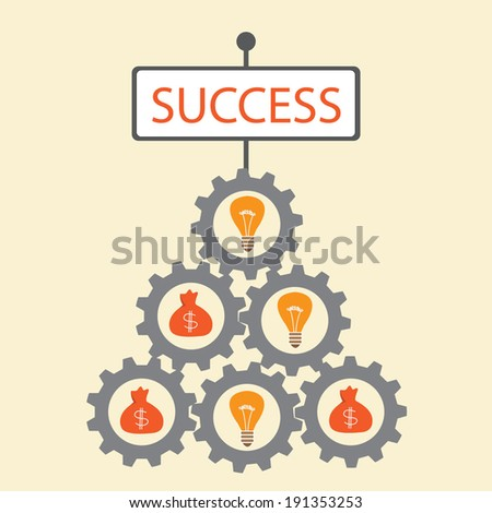 Success concept on the base of money and ideas. - stock vector