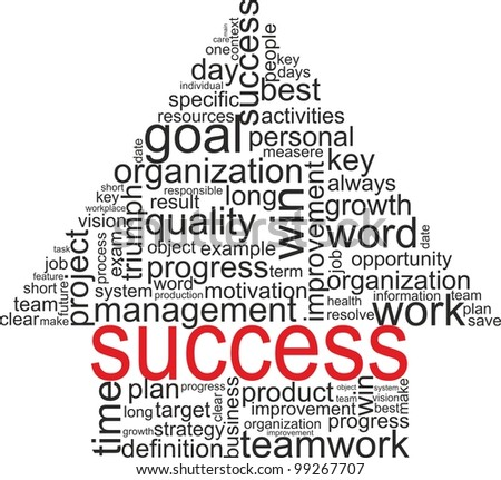 Success concept related words in tag cloud isolated on white. Arrow up with different association terms. - stock vector