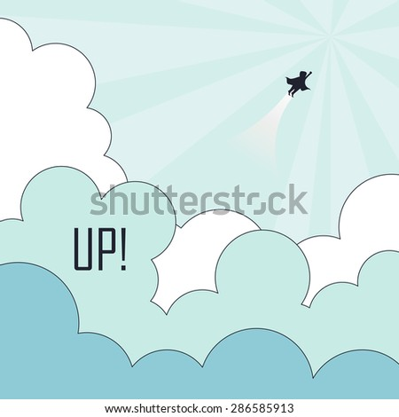 success concept: superhero flying to the sky in line  - stock vector