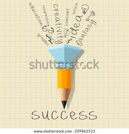 Success Creativity Concept with Pencil and Creative Theme Words. Inspirational modern design concept. Vector Illustration Easy editable for Your design. - stock vector