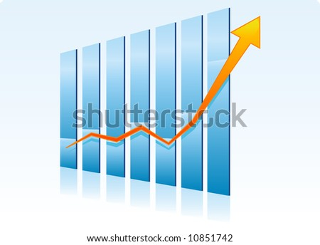 Success - growing bull trend chart - stock vector
