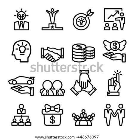 Success icon set in thin line style - stock vector