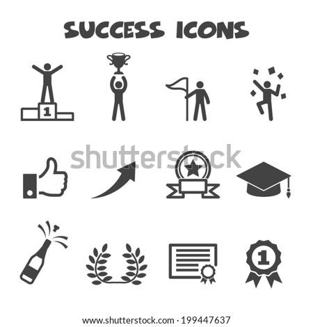 success icons, mono vector symbols - stock vector