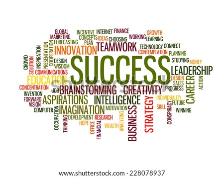 Success  in business concept word cloud - stock vector