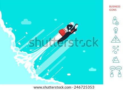 Success in business. Icot. Start up.  Businessman is flying on the rocket up in the cosmos.. Eps 10 - stock vector