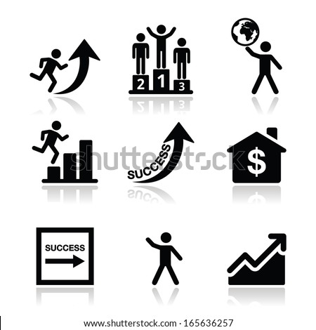 Success in business, self development icons set - stock vector