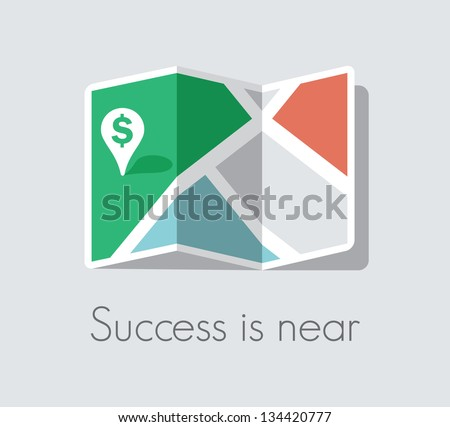Success is near. Map and pin pointer with green dollar sign. Business success and luck concept. - stock vector
