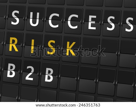 success risk B2B words on airport board background - stock vector