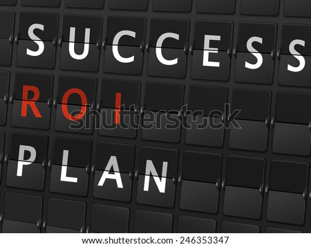 success ROI plan words on airport board background - stock vector