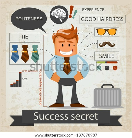Success secret. Office infografic. Vector illustration - stock vector