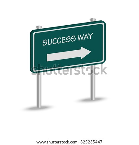 success way and arrow on green road sign  - stock vector