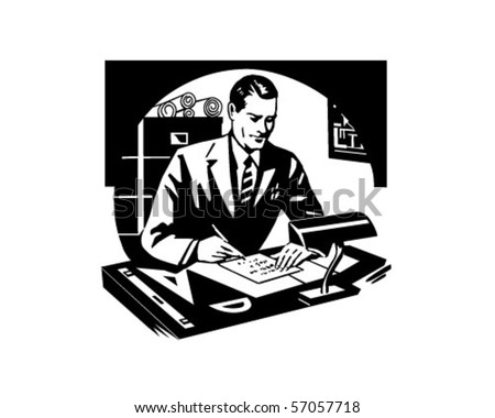 Success With Mathematics - Man Working At Desk - stock vector