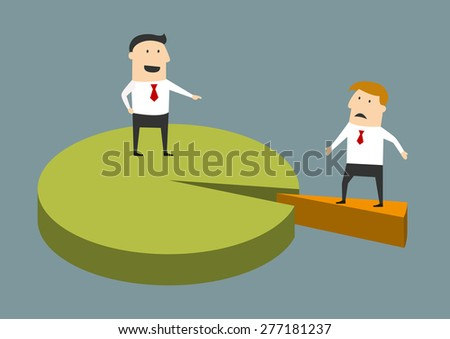 Successful and struggling businessman concept with two cartoon businessmen, one standing on the major portion of a market share graph and the other on a thin wedge - stock vector