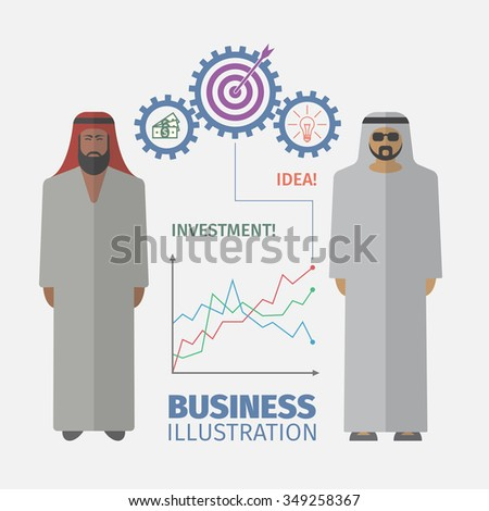 Successful Arabic business people. Businessman Idea. Flat design. - stock vector