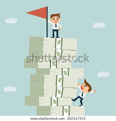 Successful business man standing on growth money stairs and other man trying to climb ing up - stock vector
