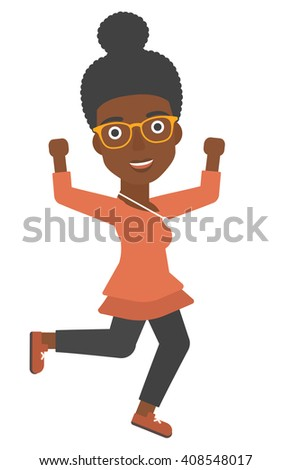 Successful business woman running - stock vector