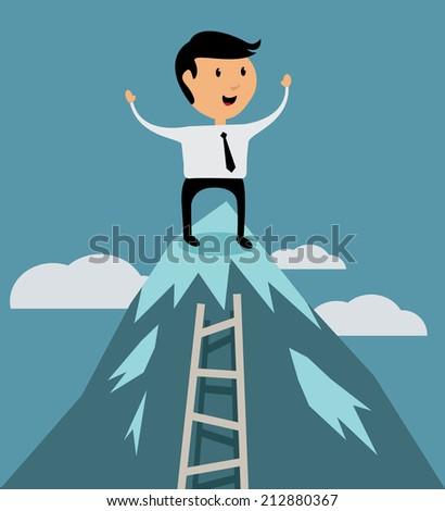 Successful businessman at peak of career concept, flat design vector illustration - stock vector