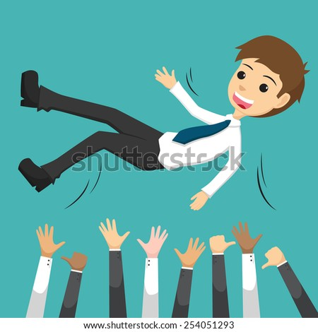 Successful Businessman Being Throwing Up By His Teamwork Or Colleague - stock vector