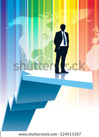 Successful businessman is standing on a large rising graph - stock vector
