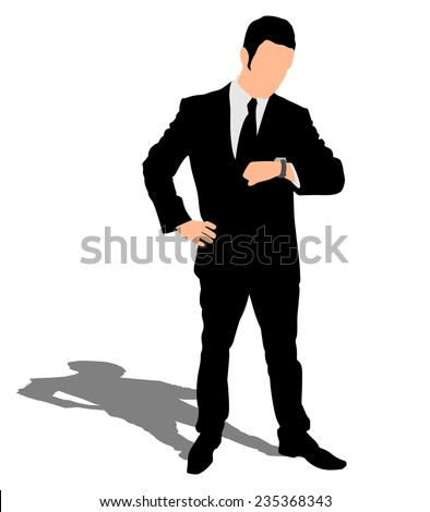 Successful businessman looks at his wrist watch, vector  - stock vector